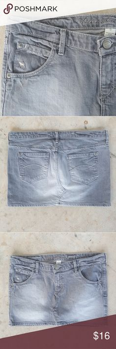 Abercrombie & Fitch faded gray denim mini Abercrombie & Fitch faded gray denim mini skirt Excellent condition  Size 0 Abercrombie & Fitch Skirts Mini