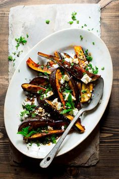 This roasted eggplant with pomegranate molasses feta and mint has knockout flavor and is ready in 30 minutes, making it the perfect gluten-free side dish. Gluten Free Sides Dishes, Side Dishes Easy, Dash Diet Recipes, Healthy Recipes, Vegetarian Recepies, Feta, Clean Eating Snacks, Healthy Eating, Molasses Recipes
