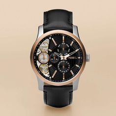 Fancy - FOSSIL® Watch Styles Mechanical:Mens Twist Leather Watch - Black ME1099
