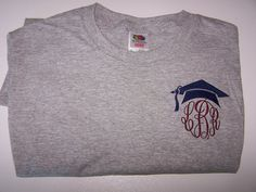 Monogrammed graduation shirt by RobinsEmbroidery on Etsy, $18.00