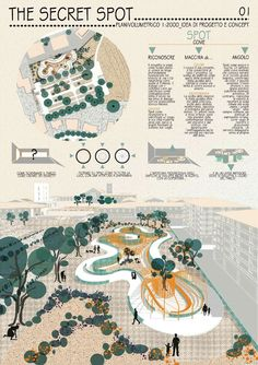 Landscape, Architecture, Garden Design, Public square. Competition for a public garden in the main square of Pomezia, Italy. #landscapearchitectureplan #landscapearchitecturepark
