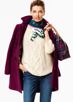 Talbots Fall 2014 | Plush Twill Toggle Coat in black raspberry, nutmeg, orchard green, sequoia, indigo blue, black 43031016 $249.00; Lace Cabled Sweater in bisque, slate heather 43121714 $99.00; Sly Fox Scarf in cypress teal 43067075 $59.50; Braided-Leather Bracelet in cognac leather 43065094 $39.50; Nylon Front-Pocket Hobo in indigo blue tattered plaid 43061004 $39.50
