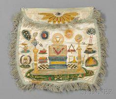 Hand-painted Silk Masonic Apron