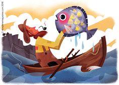 The brilliant Wish Fish! Illustration by Martin Wickstrom (http://www.wickillustration.com) for Storytime Issue 17's folk tale ~ STORYTIMEMAGAZINE.COM