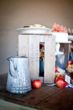 Fall rustic apple bridal inspiration shoot from Dogwood Events, JEM Events and photography by Djijo Studios Photography #dessert #table #antique #graniteware #cake #pies #barn #wedding #reception