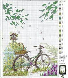 Letras e Artes da Lalá: Ponto cruz: bicicletas (fotos do pinterest) Tiny Cross Stitch, Cross Stitch Flowers, Cross Stitch Kits, Cross Stitch Charts, Cross Stitch Designs, Cross Stitch Patterns, Cross Stitching, Cross Stitch Embroidery, Embroidery Patterns