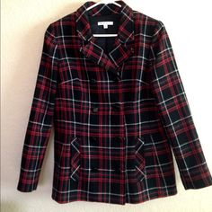 CAbi double breasted plaid jacket. Make an offer. Such great detail on this jacket. Colors are black, red, and white. Fully lined. In great pre-owned condition. Ready to sell. Make an offer. CAbi Jackets & Coats