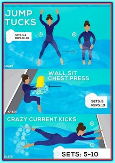 Pool Exercise Routine For Rapid Weight Loss – FITNESS Source by bestrapidweightloss Water Aerobic Exercises, Swimming Pool Exercises, Pool Workout, Aerobics Workout, Water Workouts, Swimming Pools, Water Aerobics Routine, Swim Workouts, Yoga For Weight Loss