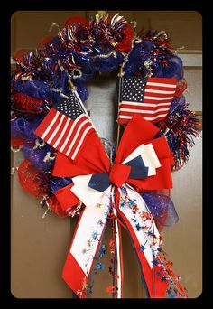 USA flags Deco mesh Wreath by CottageDoorWreaths