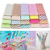 Wish | 25x Paper Stripe Retro Vintage Stripe FOR Party Drinking Straws Birthday Wedding