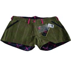 Rydale Lucinda Tweed Shorts Wool Green Purple Lined Equestrian Country Sport New