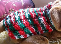 Hand knit Dog Sweater Holiday Christmas Easy Fit by KnittyDebby, $12.99