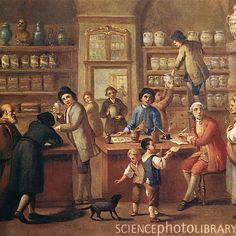 Caption: Italian apothecary. 18th-century artwork showing the interior of an apothecary's shop in Italy. An apothecary was the equivalent of a modern pharmacist, dealing in remedies based on herbal medicine, and sold at treatments for various ailments. The ingredients for the remedies are on the shelves in the background. A remedy is being prepared using a pestle and mortar at centre. This artwork is held at the National Historic Museum of the Medical Arts, Rome, Italy.