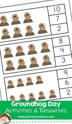 Practice subitizing skills with these Groundhog Day Activity math clip cards. Preschool Groundhog, Groundhog Day Activities, Class Activities, Educational Activities, Toddler Activities, Preschool Schedule, Preschool Lesson Plans, Preschool At Home, Preschool Ideas