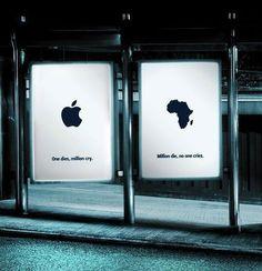 Uno muore, milioni piangono. Milioni muoiono, nessuno piange. #mela #apple #creative