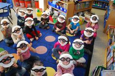Zero the Hero mask: cut out the entire center of a paper plate; attach glasses across the front; child's face comes through).
