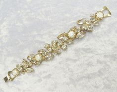 Beautiful Romantic Rhinestone and Faux Baroque Pearl Bracelet from Vintage Jewelry Girl! #vintagejewelry