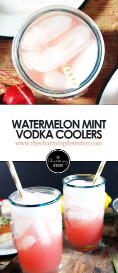Watermelon Mint Vodka Coolers: Featuring deliciously refreshing watermelon juice paired with mint simple syrup and vodka for a delightful summer cocktail. Party Food And Drinks, Fun Drinks, Alcoholic Drinks, Beverages, Vodka Cocktails, Summer Cocktails, Cocktail Drinks, Smoothie Drinks, Fruit Smoothies