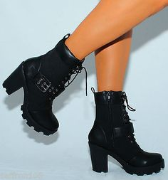 LADIES BLACK MILITARY COMBAT ARMY FASHION ANKLE BOOTS HIGH HEEL BLOCK SHOES | eBay