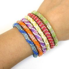 "Pre-Picked Silvery Rainbow ""6-Stack"" Lily & Laura Bracelets - Nepal"