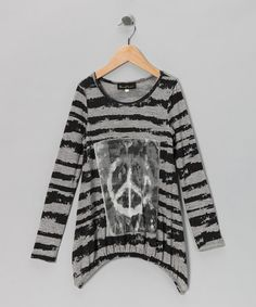 Take a look at this Gray & Black Peace Sidetail Tunic - Girls by Hannah Banana on #zulily today!