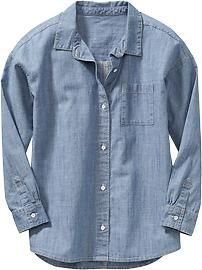 Girls Relaxed Chambray Shirts
