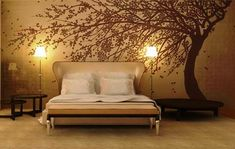 Romantic Bedroom Interior Decorating Ideas with Abstract Tree Wall Murals Stickers