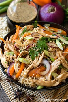 This simple Asian Noodle Salad with Chicken is a delicious option for lunch or dinner and its another great recipe that uses that Everyday Asian Dressing recipe we shared earlier this week! Chinese Bbq Pork, Asian Recipes, Healthy Recipes, Asian Noodles, Noodle Salad, Ramen Noodle, Pasta Salad, Asian Cooking, Chicken Salad