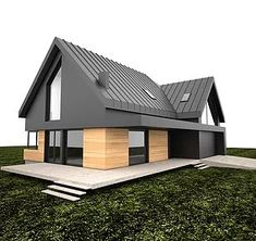 Czarno elewacja - Home Cleaning Routine Modern Barn, Modern Farmhouse, Modern House Design, Exterior Design, Future House, Modern Architecture, Building A House, House Plans, New Homes