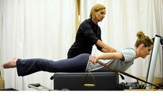 2012 Olympic Gold Medal Winner works out on Pilates Reformer to improve her core strength.