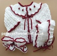 Crochet padrão roupa 3 peça bebê livre eb-link EUA