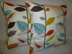 PAIR Orange Pillows Cushion Covers 4 CHOICES Mix by WickedWalls, $29.00