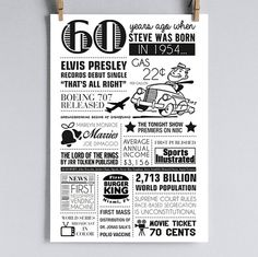 Personalized 60th Birthday Poster 1954 by sarabethpapercrafts, $15.00