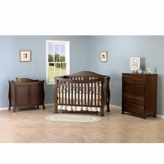 DaVinci 3 Piece Nursery Set - Parker 4 in 1 Convertible Crib with Toddler Rail, 2 Door Changing Table and 4 Drawer Dresser in Coffee - Click to enlarge