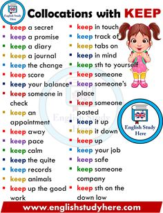 English Collocations with KEEP - English Study Here English Vinglish, English Sentences, English Vocabulary Words, English Idioms, English Phrases, English Study, English Tips, English Speaking Skills, Teaching English Grammar
