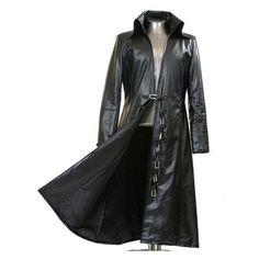 Men's Black Faux Leather Long Black Trench Coat New Arrival ❤ liked on Polyvore featuring men's fashion, men's clothing, men's outerwear, men's coats, mens long coat, mens long trench coat, mens coats and mens trenchcoat