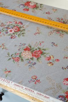 Japanese Fabric Linen Cotton Blended  Floral  Half by cottonblue, $8.50