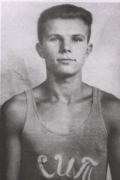 Yuri Gagarin (1934 – 1968), a Russian cosmonaut, the first human in space, as a member of his college sports team.