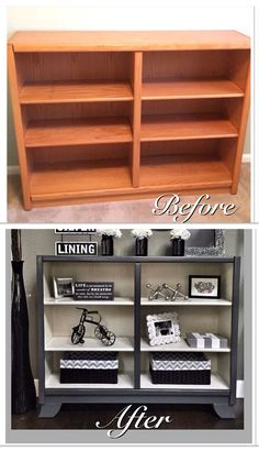Before & After  Drab oak shelf refinished! Add some legs, paint out in a soft cream and mod grey and get gorgeous results!