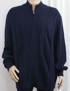 IZOD Dark Blue Long Sleeve Quarter Zipper Sweater Big and Tall 3XL #IZOD #14Zipper