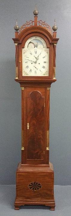 Simon Willard style mahogany tall case clock with older : Lot 131