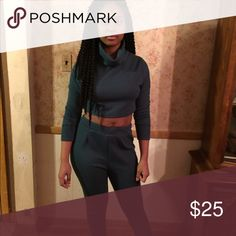 Two piece sweater set Green two piece sweater set is comfortable and stylish foe those colder temperatures. Warm the look up and pair it with your favorite pair of booties Obsessed Boutique Pants Jumpsuits & Rompers