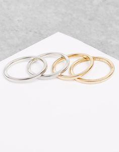 Lot de 4bracelets en métal élastique argenté - Accessoires - Bershka Belgium