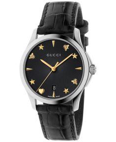 a50ee89feb32 Gucci Women's Swiss Automatic G-Timeless Black Alligator Leather Strap  Watch 38mm YA126469 - Black