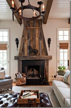 reclaimed wood overmantle fireplace