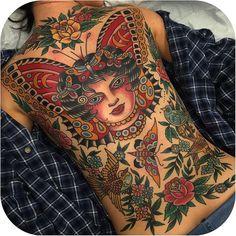 Bold & Traditional backpiece made by @steve_byrne_tattoo #tattoodo