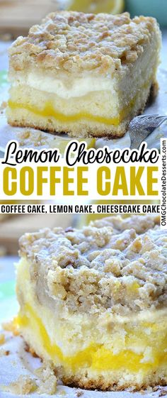 Lemon Coffee Cake is a delicious, moist and sweet breakfast or snack cake, and also a very easy dessert recipe. Bursting with tangy lemon flavor, this coffee cake is the perfect treat to enjoy this spring or summer! Lemon Desserts, Lemon Recipes, Easy Cake Recipes, Easy Desserts, Dessert Recipes, Lemon Cakes, Cheesecake Recipes, Sweet Recipes, Food Cakes