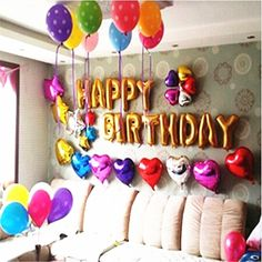 Description: - You will get 14pcs balloons,Happy Birthday - 13 letters and 1pc 18'' Heart Shape Foil Balloon - Size:14Inch (1cm=0.3937inch) - Material is aluminum film, color uniform, spherical beautiful - Can be repeated use, convenient inflation and deflation! - When the inflation is completed, please put the ball to pinch flat, the ball comes automatically sealing glue! - Brand: - PartyPlanet
