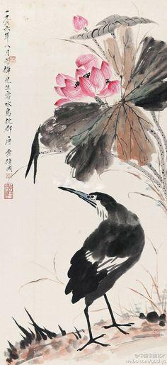 李苦禅 唐云 1966年合作 《荷花水鸟图》 立轴