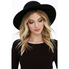 Rhythm Suffolk Black Hat ($38) ❤ liked on Polyvore featuring accessories, hats, hair, black, round brim hats, band hats, round hat and brimmed hat
